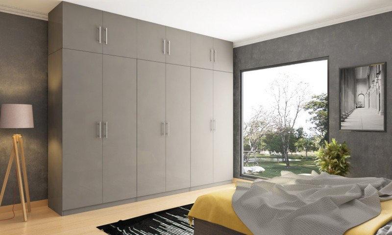 Фото распашного шкафа с антресолью серый