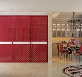 Фото встроенного шкафа-купе красного цвета